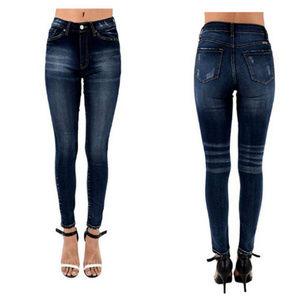 KANCAN high rise distressed skinny jeans dark wash